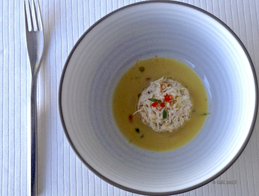Crabmeat in shellfish consommé
