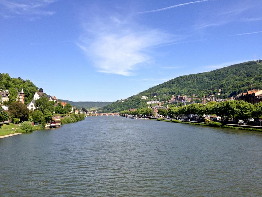 View East from Theodor-Heuss bridge toward Karl-Theodor bridge, yes, it is confusing!