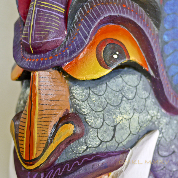 Under the painted eye is the slit opening through which the dancer wearing the mask looks out