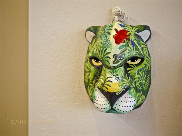Jaguar mask carved by Roy Lázaro Morales