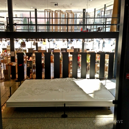 Architectural Society gift shop, library & workshops. In the lobby a model of Barcelona