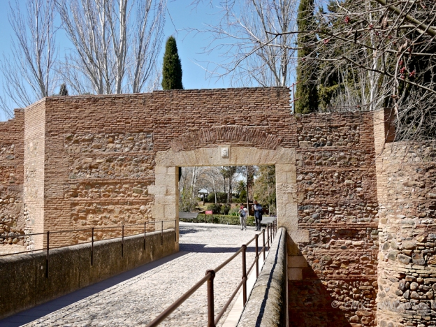 Crossing the former moat into the Alhambra proper!