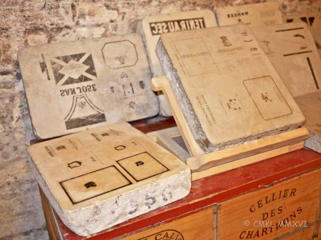 The stones for lithographically pulled labels before contemporary printing practises became the norm.