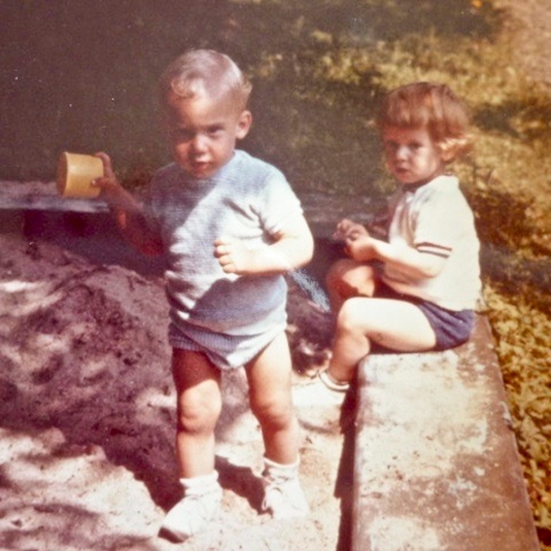 Your dad, 20 months old, with his golden curls, playing with his cousin Michael, 14 months [photo supplied by Bianka]