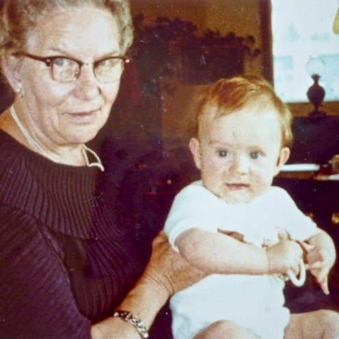 "Charles with his grandma ""Omi"" Emmi Kolshorn, Grandpa Hans' & uncle Hajo's mom [photo supplied by Bianka]"