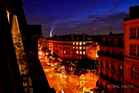 Night view from our 6th floor rooftop-over-Paris apartment :-)