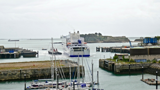 """The tugboat """"Faithful"""" helped the car ferry MV Armorique across Plymouth Sound in very heavy winds and rainstorms."""