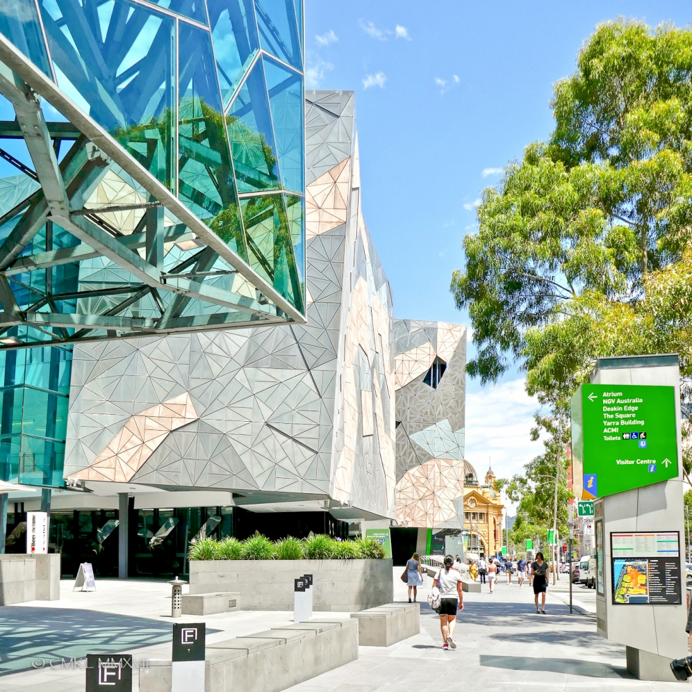 The edge of Federation Square along Flinders street