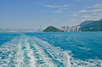 Looking back toward HK, Kowloon on the left, HK Island on the right