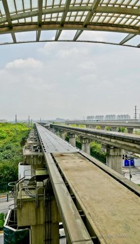 Looking along the guideways at Longyang Road station.