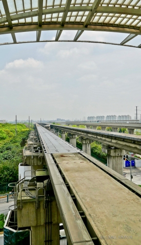 Looking along the guideways at Longyang Road station.