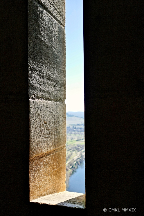 An arrow slit, the medieval version of a window