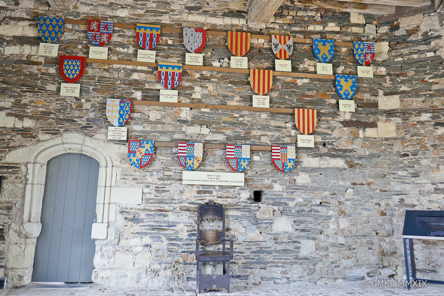 Inside the guardhouse is a wall of honour with the crests of former residents of the ducal & royal castle