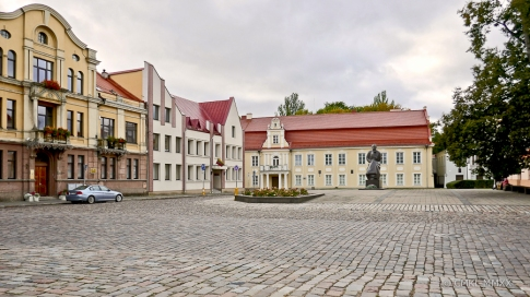 The Maironis Lithuanian Literature Museum in the back, the poet's former home.